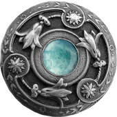 Jewels Collection 1-3/8'' Diameter Jeweled Lily Round Cabinet Knob in Antique Brass with Green Aventurine Natural Stone, 1-3/8'' Diameter x 1-1/8'' D