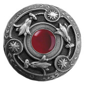 Jewels Collection 1-3/8'' Diameter Jeweled Lily Round Cabinet Knob in Antique Pewter with Red Carnelian Natural Stone, 1-3/8'' Diameter x 1-1/8'' D
