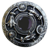 Jewels Collection 1-3/8'' Diameter Jeweled Lily Round Cabinet Knob in Brite Nickel with Onyx Natural Stone, 1-3/8'' Diameter x 1-1/8'' D