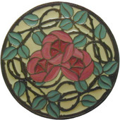 Period Pieces Collection 1-7/16'' Diameter Delaney's Rose Round Cabinet Knob in Enameled Dark Brass and Yellow, 1-7/16'' Diameter x 7/8'' D