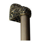 King's Road Collection 12'' Wide Acanthus Fluted Bar Appliance Pull in Antique Brass, 12'' W x 2-1/2'' D x 2-1/8'' H