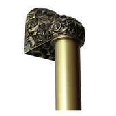 King's Road Collection 12'' Wide Acanthus Plain Bar Appliance Pull in Antique Brass, 12'' W x 2-1/2'' D x 2-1/8'' H