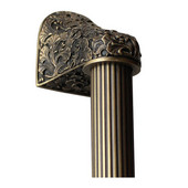 Florals & Leaves Collection 12'' Wide Florid Leaves Fluted Bar Appliance Pull in Antique Brass, 12'' W x 2-1/2'' D x 2-1/8'' H