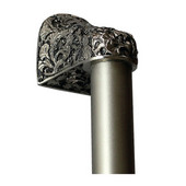 Florals & Leaves Collection 12'' Wide Florid Leaves Plain Bar Appliance Pull in Satin Nickel, 12'' W x 2-1/2'' D x 2-1/8'' H