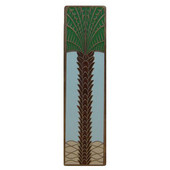 Tropical Collection 4'' Wide Royal Palm/Pale Blue (Vertical) Cabinet Pull in Enameled Antique Brass, 4'' W x 7/8'' D x 1'' H