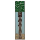 Tropical Collection 4'' Wide Royal Palm/Pale Blue (Vertical) Cabinet Pull in Enameled Antique Pewter, 4'' W x 7/8'' D x 1'' H