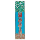 Tropical Collection 4'' Wide Royal Palm/Turquoise (Vertical) Cabinet Pull in Enameled Brilliant Pewter, 4'' W x 7/8'' D x 1'' H