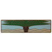 Tropical Collection 4'' Wide Royal Palm/Pale Blue (Horizontal) Cabinet Pull in Enameled Antique Brass, 4'' W x 7/8'' D x 1'' H