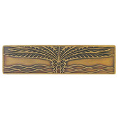 Tropical Collection 4'' Wide Royal Palm (Horizontal) Cabinet Pull in Antique Brass, 4'' W x 7/8'' D x 1'' H