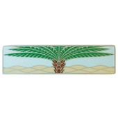 Tropical Collection 4'' Wide Royal Palm/Pale Blue (Horizontal) Cabinet Pull in Enameled Antique Pewter, 4'' W x 7/8'' D x 1'' H