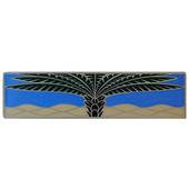Tropical Collection 4'' Wide Royal Palm/Periwinkle (Horizontal) Cabinet Pull in Enameled Antique Pewter, 4'' W x 7/8'' D x 1'' H