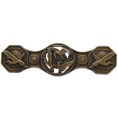Lodge & Nature Collection 3-7/8'' Wide Crane Dance Cabinet Pull in Antique Brass, 3-7/8'' W x 7/8'' D x 1-1/8'' H