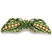 Kitchen Garden Collection 5'' Wide Pearly Peapod Cabinet Pull in Pewter Hand Tinted, 5'' W x 1-1/8'' D x 1-1/2'' H