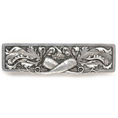 Kitchen Garden Collection 4-7/8'' Wide Leafy Carrot Cabinet Pull in Brilliant Pewter, 4-7/8'' W x 7/8'' D x 1-3/8'' H