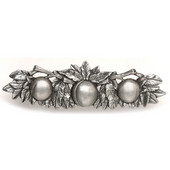 Kitchen Garden Collection 5'' Wide Georgia Peach Cabinet Pull in Brilliant Pewter, 5'' W x 7/8'' D x 1-1/2'' H