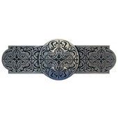 Classic Collection 4'' Wide Renaissance Etch Cabinet Pull in Brilliant Pewter, 4'' W x 7/8'' D x 1-1/2'' H