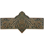 English Garden Collection 4-3/8'' Wide Dianthus Cabinet Pull in Enameled Antique Brass/Sage (Green), 4-3/8'' W x 7/8'' D x 2-1/4'' H