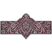 English Garden Collection 4-3/8'' Wide Dianthus Cabinet Pull in Enameled Antique Pewter/Cayenne (Red), 4-3/8'' W x 7/8'' D x 2-1/4'' H