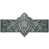 English Garden Collection 4-3/8'' Wide Dianthus Cabinet Pull in Enameled Antique Pewter/Sage (Green), 4-3/8'' W x 7/8'' D x 2-1/4'' H