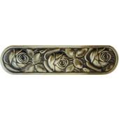 English Garden Collection 4-3/8'' Wide McKenna's Rose Cabinet Pull in Antique Brass, 4-3/8'' W x 7/8'' D x 1-1/4'' H