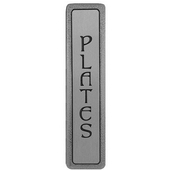Kitchen ID Collection 4'' Wide (Vertical) ''Plates'' Cabinet Pull in Antique Pewter, 4'' W x 7/8'' D x 7/8'' H