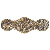Florals & Leaves Collection 4'' Wide Florid Leaves Cabinet Pull in Antique Brass, 4'' W x 7/8'' D x 1-1/4'' H