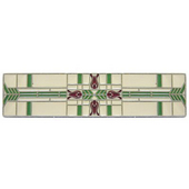 Period Pieces Collection 3-3/4'' Wide Prairie Tulips Cabinet Pull in Enameled Antique Pewter and Spring Green, 3-3/4'' W x 7/8'' D x 7/8'' H