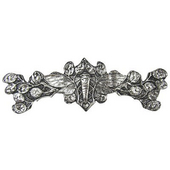 Period Pieces Collection 4'' Wide Cicada on Leaves Cabinet Pull in Brite Nickel, 4'' W x 7/8'' D x 1-1/4'' H