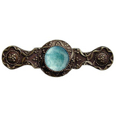 Jewels Collection 3-7/8'' Wide Victorian Jewel Cabinet Pull in Antique Brass with Green Aventurine Natural Stone, 3-7/8'' W x 1-1/4'' D x 1-1/4'' H