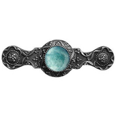 Jewels Collection 3-7/8'' Wide Victorian Jewel Cabinet Pull in Antique Pewter with Green Aventurine Natural Stone, 3-7/8'' W x 1-1/4'' D x 1-1/4'' H