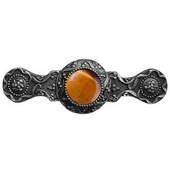 Jewels Collection 3-7/8'' Wide Victorian Jewel Cabinet Pull in Antique Pewter with Tiger Eye Natural Stone, 3-7/8'' W x 1-1/4'' D x 1-1/4'' H