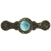 Jewels Collection 3-7/8'' Wide Victorian Jewel Cabinet Pull in Brite Brass with Green Aventurine Natural Stone, 3-7/8'' W x 1-1/4'' D x 1-1/4'' H