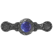 Jewels Collection 3-7/8'' Wide Victorian Jewel Cabinet Pull in Brite Nickel with Blue Sodalite Natural Stone, 3-7/8'' W x 1-1/4'' D x 1-1/4'' H
