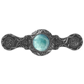 Jewels Collection 3-7/8'' Wide Victorian Jewel Cabinet Pull in Brite Nickel with Green Aventurine Natural Stone, 3-7/8'' W x 1-1/4'' D x 1-1/4'' H