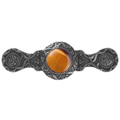 Jewels Collection 3-7/8'' Wide Victorian Jewel Cabinet Pull in Brite Nickel with Tiger Eye Natural Stone, 3-7/8'' W x 1-1/4'' D x 1-1/4'' H
