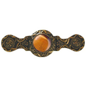 Jewels Collection 3-7/8'' Wide Victorian Jewel Cabinet Pull in 24K Gold Plate with Tiger Eye Natural Stone, 3-7/8'' W x 1-1/4'' D x 1-1/4'' H