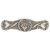 Nouveau Collection 3-7/8'' Wide River Irises Cabinet Pull in Antique Brass, 3-7/8'' W x 7/8'' D x 1'' H