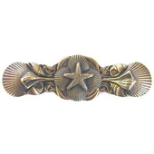 Pastimes Collection 4'' Wide Seaside Collage Cabinet Pull in Antique Brass, 4'' W x 7/8'' D x 1-1/4'' H