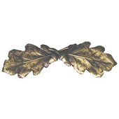 Woodland Collection 4'' Wide Oak Leaf Cabinet Pull in Antique Brass, 4'' W x 7/8'' D x 1-1/4'' H