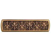 Chateau Collection 4'' Wide Fleur-de-Lis Rectangle Cabinet Pull in Antique Copper, 4'' W x 7/8'' D x 1'' H