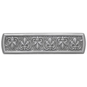 Chateau Collection 4'' Wide Fleur-de-Lis Rectangle Cabinet Pull in Antique Pewter, 4'' W x 7/8'' D x 1'' H