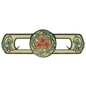 Period Pieces Collection 3-7/8'' Wide Delaney's Rose Cabinet Pull in Enameled Dark Brass and Yellow, 3-7/8'' W x 7/8'' D x 1-1/4'' H