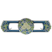 Period Pieces Collection 3-7/8'' Wide Delaney's Rose Cabinet Pull in Enameled Antique Pewter and Blue , 3-7/8'' W x 7/8'' D x 1-1/4'' H