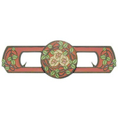Period Pieces Collection 3-7/8'' Wide Delaney's Rose Cabinet Pull in Enameled Dark Brass and Rose, 3-7/8'' W x 7/8'' D x 1-1/4'' H