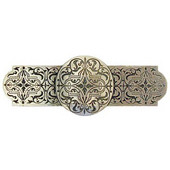 Classic Collection 4'' Wide Renaissance Etch Cabinet Pull in Brite Brass, 4'' W x 7/8'' D x 1-1/2'' H