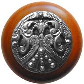 Classic Collection 1-1/2'' Diameter Regal Crest Cherry Wood Round Knob in Brilliant Pewter, 1-1/2'' Diameter x 1-1/8'' D