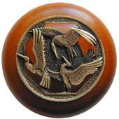 Lodge & Nature Collection 1-1/2'' Diameter Crane Dance Cherry Wood Round Knob in Antique Brass, 1-1/2'' Diameter x 1-1/8'' D