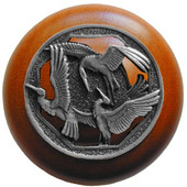 Lodge & Nature Collection 1-1/2'' Diameter Crane Dance Cherry Wood Round Knob in Antique Pewter, 1-1/2'' Diameter x 1-1/8'' D