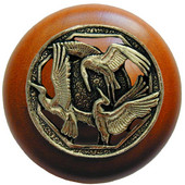 Lodge & Nature Collection 1-1/2'' Diameter Crane Dance Cherry Wood Round Knob in Brite Brass, 1-1/2'' Diameter x 1-1/8'' D