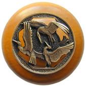 Lodge & Nature Collection 1-1/2'' Diameter Crane Dance Maple Wood Round Knob in Antique Brass, 1-1/2'' Diameter x 1-1/8'' D